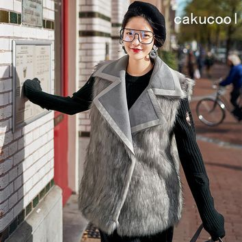 Cakucool New Women Faux Fur Sleeveless Jacket Turn Down Collar Double-face Fur Vest Winter Suede Leather Grey Design Vest Female