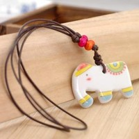 Hand Painted Ceramic Elephant Pendant Necklace