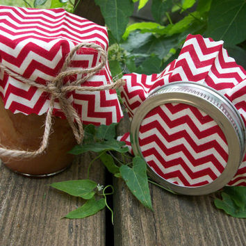 12 Red Chevron Jam Covers, Cloth Toppers, fabric for mason jars, food preservation, jam and jelly favors