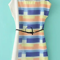 Striped Printed Dress with Sash