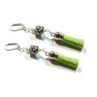 Sterling Silver Tassel Earrings , Leather Tassel Earrings, Peridot Crystal Earrings, Statement Earrings , Long Leather Tassel Earrings