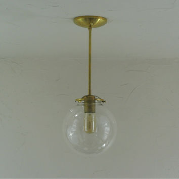 Large Glass Globe Pendant Light