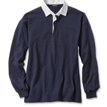 Men's Cotton Long-Sleeved Rugby Shirt / Solid Rugby Long-Sleeved Shirt -- Orvis