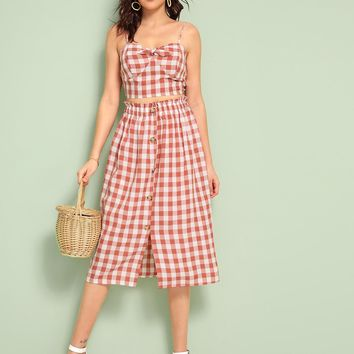 Gingham Tie Front Crop Cami & Button Front Skirt Set