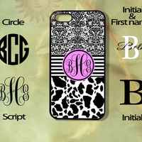 Monogram Cow and Print -iPhone 5 , 5s, 5c,4s, 4,Ipod touch 4, 5, Samsung GS3, GS4, GS5-Silicone Rubber or Hard Plase, cover