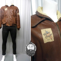 Vintage 80s Miami Clippers Brown Leather Batwing Jacket Flight Jacket Aviator Jacket Wool Trim USA Map Oversized Jacket Flying Fortress
