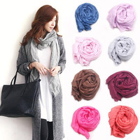 2016 New Brand Silk Scarves Solid Color Elegant Women Soft Wrap Shawl Long Stole Spring Winter Scarf