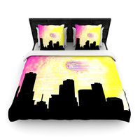 "Infinite Spray Art ""Skylined"" Pink Yellow Woven Duvet Cover"