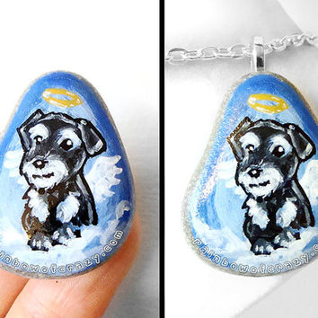 Miniature Schnauzer Pendant, Art Rock Pet Memorial Necklace, Angel Dog Jewelry, Hand Painted Beach Stone, Pet Loss Gift, Blue Sky