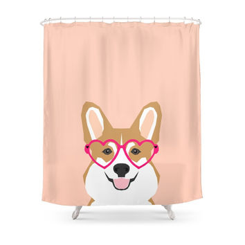 Society6 Corgi Love - Valentines Heart Shaped Glasses On Funny Dog For Dog Lovers Pet Gifts Customizable Dog Shower Curtains