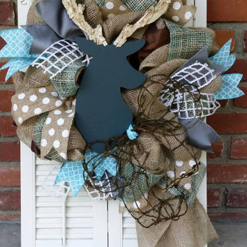 Chalkbaord Deer Nursery Deer Baby Shower Decor Burlap Gray Deer Wreath Turquose Gray Nursery Burlap Wreath Deer Baby Shower Chalkboard Deer