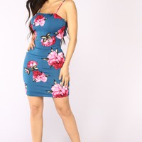 Spa Weekend Floral Dress - Blue Floral