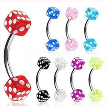 ac DCCKO2Q Isayoe 1Piece Free Shipping 16G Stainlessl Steel eyebrow Ring Colorful Dice eye rings promotion Body Piercing Jewelry