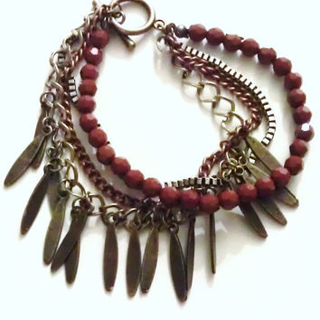 Bohemian Hippie Four Strand Layered Bracelet