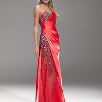 Poppy Beaded Pleated Satin Sweetheart Prom Dress - Unique Vintage - Cocktail, Pinup, Holiday & Prom Dresses.