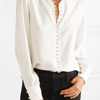 Frame - Le Victorian washed-silk blouse