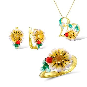 Enamel Sunflower  Ring Earrings Pendent Necklace 925 Sterling Silver Fashion Jewelry Set