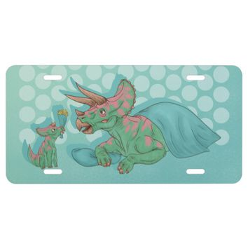 Triceratops Giving Flowers License Plate