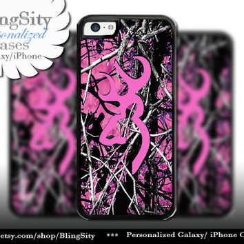 Camo Hot Pink Browning iPhone 5C 6 Plus Case iPhone 5s 4 case Ipod muddy Realtree Personalized Country Inspired Girl