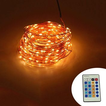 IR Remote Control 30m 300 LED Outdoor Christmas Fairy Lights Warm White Copper Wire LED String Lights Starry Light+Power Adapter