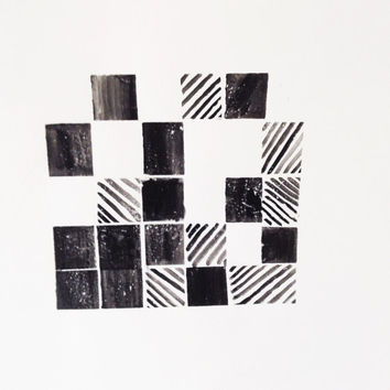 Abstract Black and White Geometric Painting