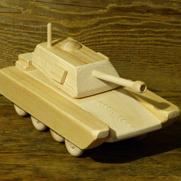 Wood Toy Army Tank M1A1 Wooden Toys Handmade Woodworking military armored vehicle kids boys childs birthday present gift