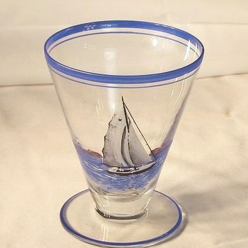 Pair Nautical Hand Painted Cordial Yacht Sailboat Clipper Ship