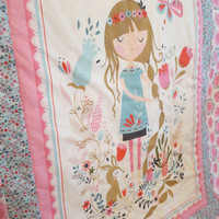 Little Girl Quilt, Toddler Bedding, Woodland Quilt, Baby Girl Quilt, Big Girl Room