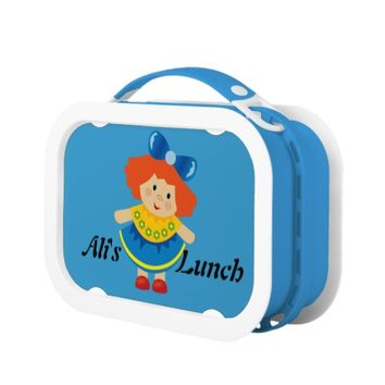 Cute Little Red Haired Girl on Blue Lunchbox