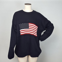 L Vintage 90s Pullover Sweater / USA American Flag Sweater / Patriotic Mens Sweater / Slouchy 90s Sweater / American Flag Crew Neck