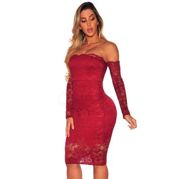 Red Lace Off Shoulder Long Sleeve Party Dress
