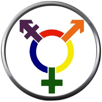 Transgender Colorful Pride Symbols Gay Lesbian Transgender Pride LGBT LGBTQ 18MM - 20MM Snap Jewelry Charm