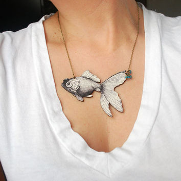 Goldfish Statement Necklace Die Cut Wood Pendant Wooden Jewelry