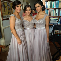 2014 New Satin Chiffon Wonderful Lace Bridesmaid dresses Beaded Bridesmaid Formal Party Evening/Prom Dresses homecoming dresses High Quality