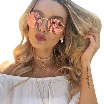 Kalete Ray-Ban Round Retro Copper (Pink) Flash/Gold Frame Sunglasses- RB3447 112/Z2