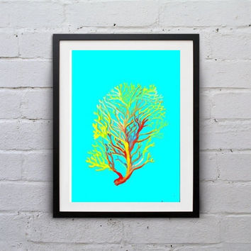 Sea coral Blue watercolor painting wall art print beach seaweed grass poster decor bathroom decal print art drawing aqua coral artwork