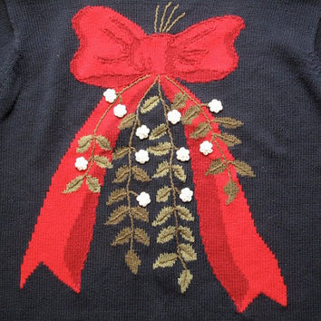 women's vintage christmas bow sweater.