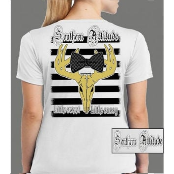 Country Life Southern Attitude Preppy Gold Glitter Deer Bow T-Shirt