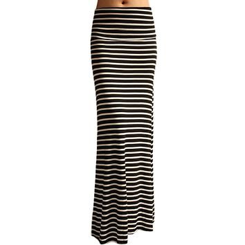 Black and Ivory Striped Printed Maxi Skirt