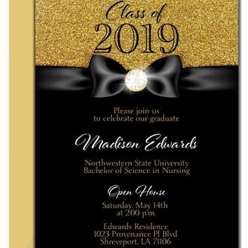 Gold Diamond Ribbon Graduation Invitation