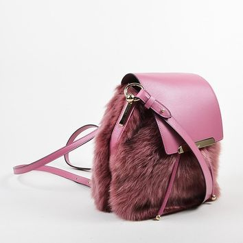 CREYU2C Rose ¡ë?¨¬?¨¬?Christian Louboutin Leather and Faux Fur Lucky L Bucket Backpack