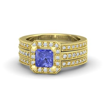 Princess Tanzanite 18K Yellow Gold Ring with Diamond