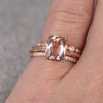 3pcs Morganite Bridal Ring Set,Engagement ring Plain Rose gold,Diamond wedding band,14k,7x9mm Cushion Cut,Gemstone Promise Ring,Art Deco