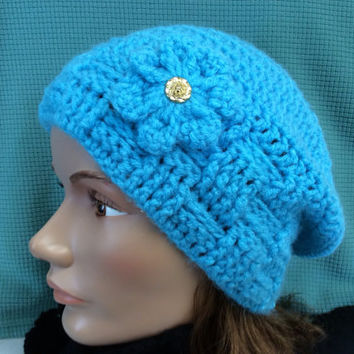 Lady's or teen Winter Hat, Mother's Day gift idea, crochet hat, teal hat, flower beanie hat, handmade hat,Crochet flower, snow hat, ski hat