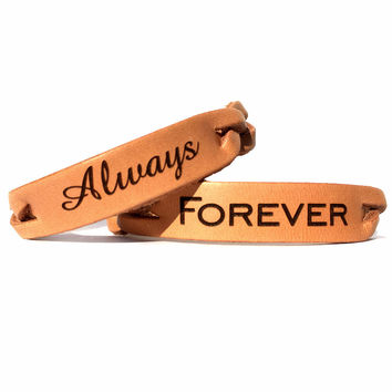 Always & Forever Leather Bracelets (Pair)