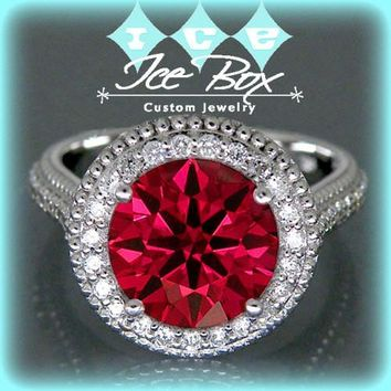 Cultured Hearts and Arrows Cut Ruby Engagement Ring
