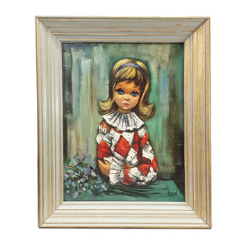 Big Eyed Pierrette Girl Print, Eden Harlequin Framed Art Print, 1960s Big Eye Litho, Vintage Sad Eyes Child, Kitsch Wall Art Decor