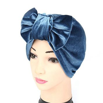 Women Large Bow Velvet Cotton Hat Casual Solid Warm Soft Hat
