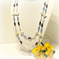 Long Blue, Purple & Clear Crystal Necklace with Amazonite and Silver Accents - Very Long Crystal Necklace