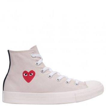 Comme Des Garcons PLAY | PLAY Converse High Plimsoll Cream | Buy Online at Hervia.com